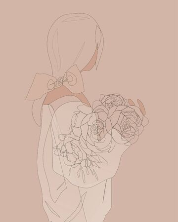 Young girl standing back with a bouquet of peonies in a sweater. Linear art. Continuous line drawing, vector illustration, flat design, one line on beige background. Collection of hand drawn, Vector illustration in sketch doodle style. Ui kit for website, web design, banners Illustration