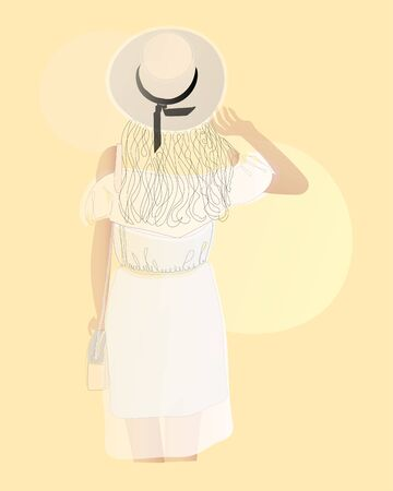 Back view of girl in dress standing with purse. Simmple art, vector illustration, flat design. Beautiful sexy girl in hat. Summer vector poster in retro style on beige background. Иллюстрация