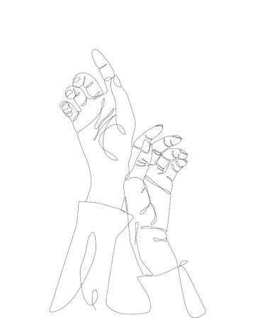 continuous single non-painted one-line intertwined hands of a man and a woman drawn by hand picture silhouette. Line art. Standard-Bild - 129198120