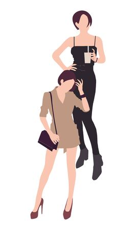 Set of fashion people. Vector flat design colorful fashionable people standing in different poses. Women and a man in luxury clothes.