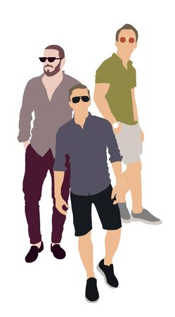 Set of fashion people. Vector flat design colorful fashionable people standing in different poses. Stock Illustratie