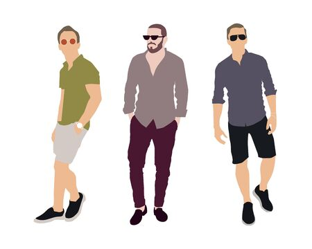 Set of fashion people. Vector flat design colorful fashionable people standing in different poses. Men in luxury clothes.
