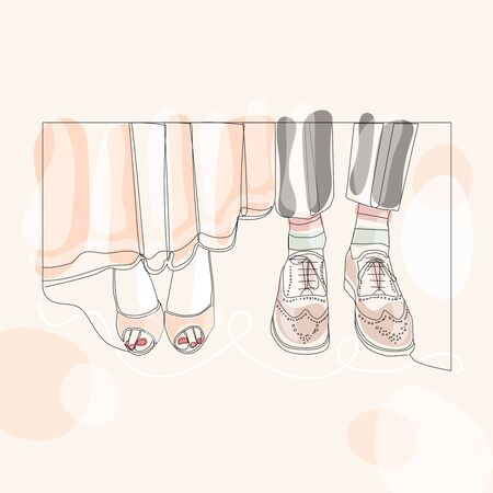 Barefooted feet are male and female. Wedding. One line drawing isolated vector object by hand on a white background.