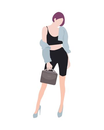 Fashionable girl. Vector flat design colorful fashionable girl standing in blue jacket and suit dresses with a square and accessories. Illustration