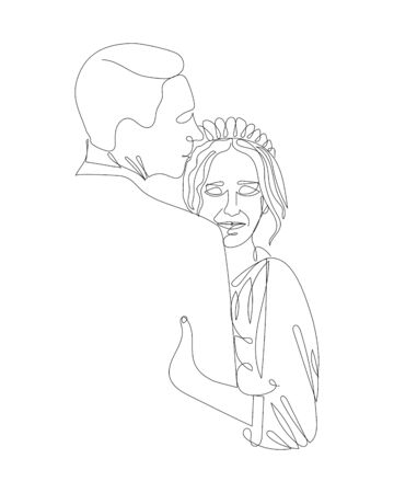 Attractive continuous line art drawing of romantic couple in love. Man and women are in happiness moment minimalist design vector illustration.
