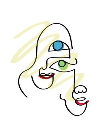 abstract face one line drawing. Portrait minimalistic style. Modern continuous line art man and woman portrait, minimalist contour. Great for home decor such as posters, wall art, tote bag, t-shirt print, mobile case