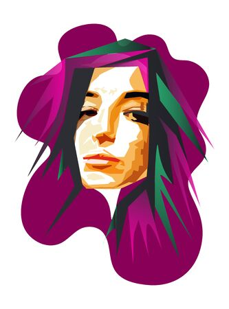 Portrait a woman in modern abstract style. Hand drawn vector illustration for your contemporary fashion design. Polygonal geometric full face portrait of girl in WPAP style. Color vector illustration