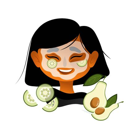 Happy Woman Applying Face Mask To Brighten Refresh Her Face. Self Care Concept Card Character illustration with avocado and cucumber. Self-care and wellness