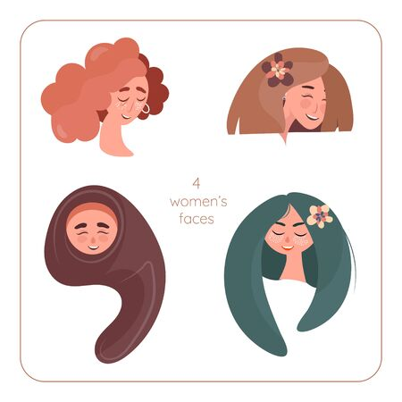 Set of four womans emotions. Facial expression. Girl Avatar with different cultures and hairdresses. Vector illustration of a flat design Illustration