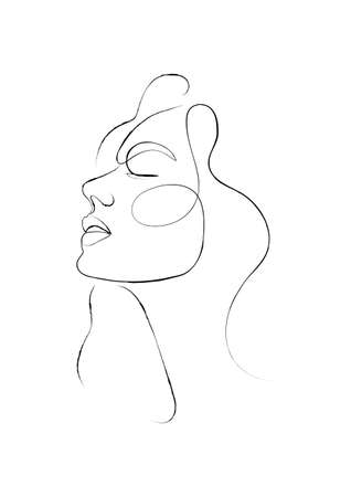Continuous one line drawing. Abstract portrait of pretty young woman. Vector soft illustration Vecteurs