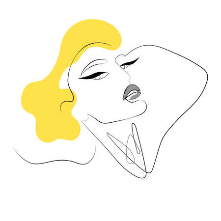 Abstract Womans Face One Line Continuous Art