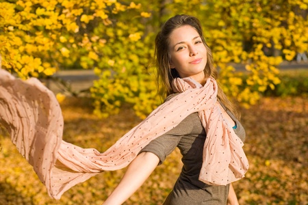 Beautiful young brunette posing in the park at fall. Stock Photo - 9282789