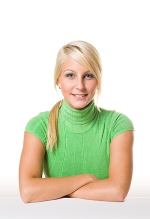 geen: Portrait of beautiful young fit blonde wearing geen turtleneck.