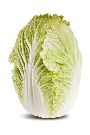 Studio shot of fresh chinese cabbage isolated on white background. Stock Photo