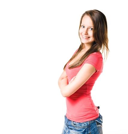 cute teen girl: Studio portrait of beautiful cute teen girl isolated on white. Stock Photo