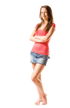 cute teen girl: Studio portrait of beautiful brunette girl isolated on white.