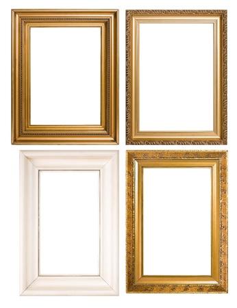 Un surtido de fondo de imagen vintage clásico vacío marcos isolatedon blanco.