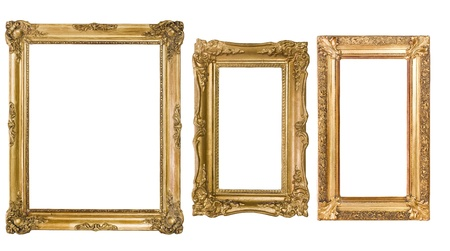 antique gold frame: An assortment of empty classic vintage picture frames isolatedon white background.