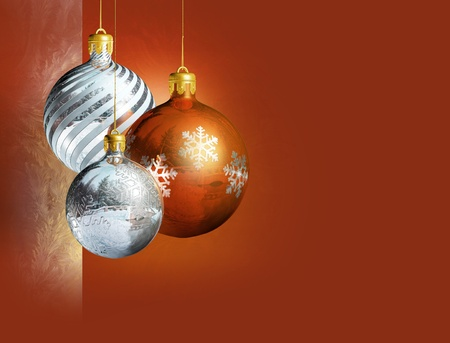 Colorful shiny christmas baubles. photo