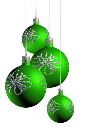Elegant decorative isolated christmas baubles on white background. Stock Photo - 9861393
