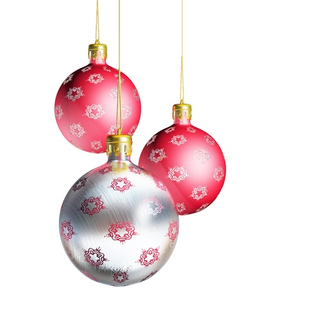 Elegant decorative isolated christmas baubles on white background.