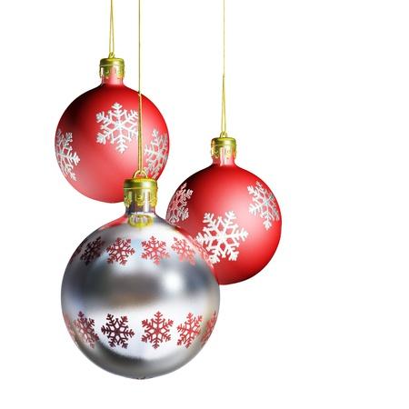 Elegant decorative isolated christmas baubles on white background. photo