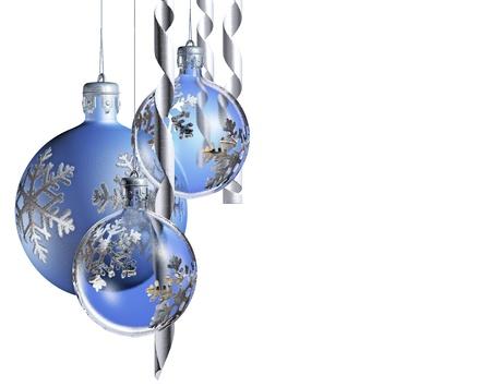 Elegant decorative isolated christmas baubles on white background. Stock Photo - 9861456