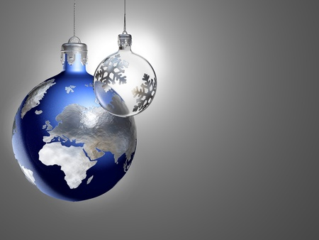 silver christmas: Earth and shining moon as christmas baubles.
