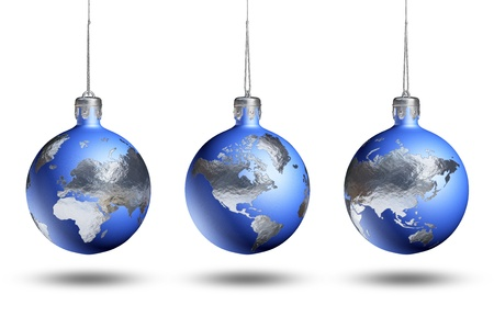 blue ball: Earth as christmas decor rotated for viewing Europe, Africa, Asia, Americas, isolated on white background. Stock Photo