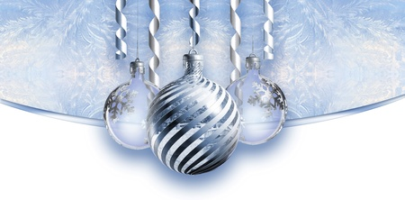 Elegant christmas header with baubles. photo