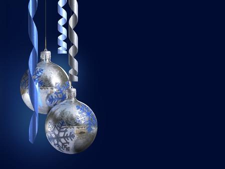 Elegant decorative isolated christmas baubles on dark blue background. Stock Photo