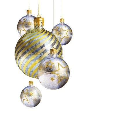silver christmas: Elegant decorative isolated christmas baubles on white background.
