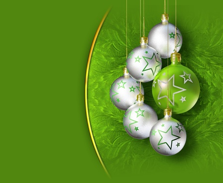 Elegant decorative christmas baubles on green background. photo