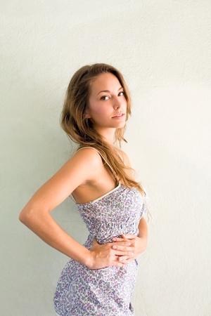 slender: Portrait of gorgeous young brunette.