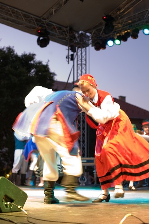 folk dancing: EGER - AUGUST 18: Traditional Polish folk dance performers on stage at night, as part of the St Sephen