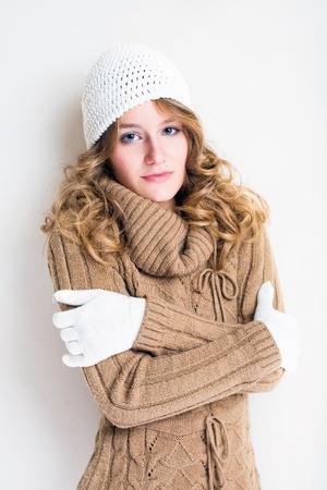 turtleneck: Portrait of beautiful winter fashion girl. Stock Photo