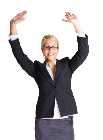exuberant: Portrait of exuberant gesturing young business woman with hands raised, isolated on white background. Stock Photo