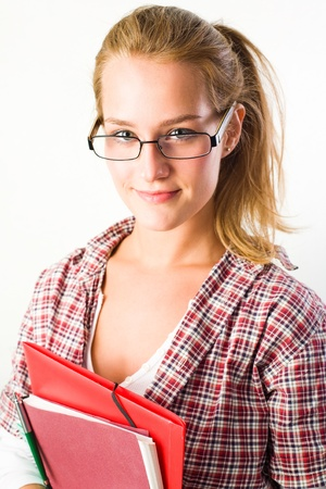school girl sexy: Closeup portrait of pretty young student girl holding exercise books and folder.
