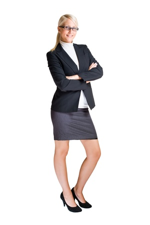 Full length portrait of attractive elegant business woman isolated on white background. photo