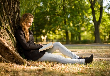 book jacket: Portrait of beautiful young brunette girl reading a book in the park at fall.