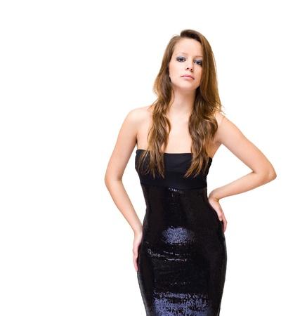 skinny girl: Half length portrait of slender young brunette isolated on white background. Stock Photo