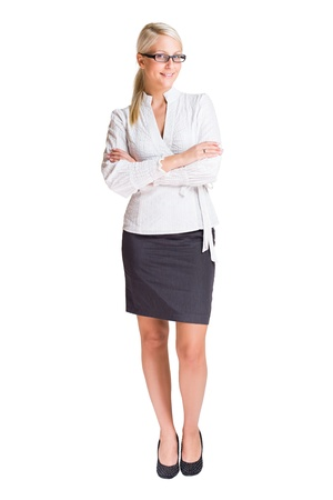 business woman standing: Full length portrait of a beautiful young business woman isolated on white. Stock Photo