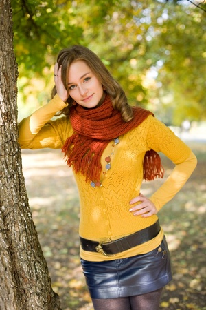 clothed: Outdoors portrait of colorful clothed gorgeous fall fashion girl. Stock Photo
