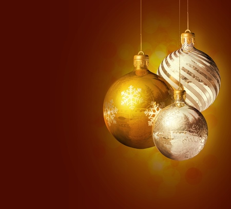Elegant christmas decor with shiny baubles and copy space. Stock Photo - 11088865