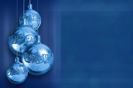 Modern styled blue metal christmas decor, greeting card, with copy space photo