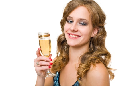 Closeup portrait of festive young blond holding champagne. Stock Photo - 11153446