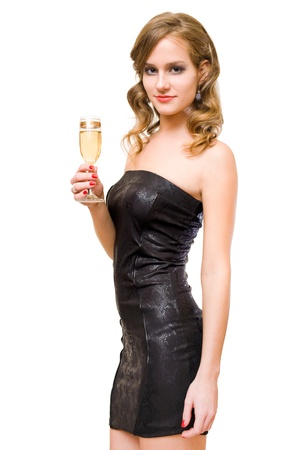 to tight: Half length portraif of beautiful young blond with champagne glass, isolated on white background.
