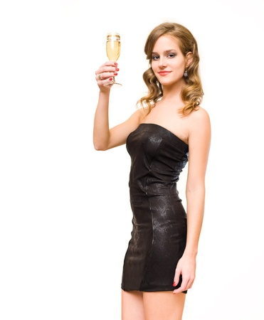 Half length portrait of beautiful young blond with champagne glass. photo