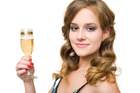 Closeup portrait of attractive young blond woman with glass of champagne. photo
