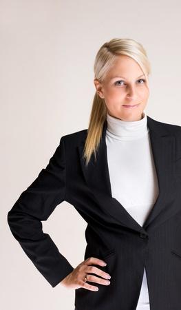 half  length: Half length portrait of smart young businesswoman.